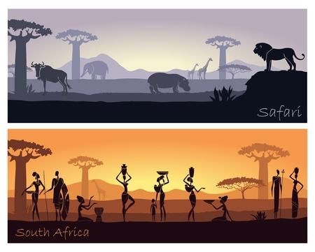 Afrikaans landschap met mensen en dieren Stock Illustratie
