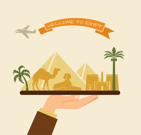 Welcome to Egypt. Attractions of Egypt on a tray Çizim
