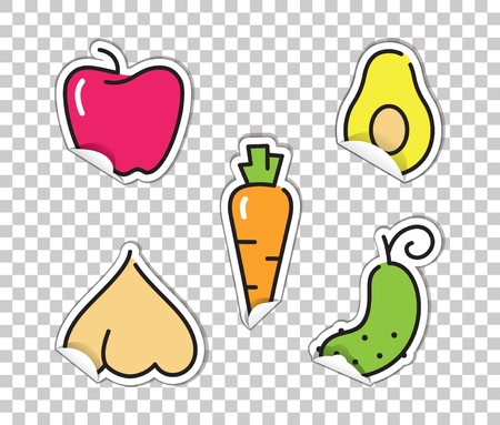Stickers with images of vegetables. Avocado, pepper, garlic, cucumber and carrots