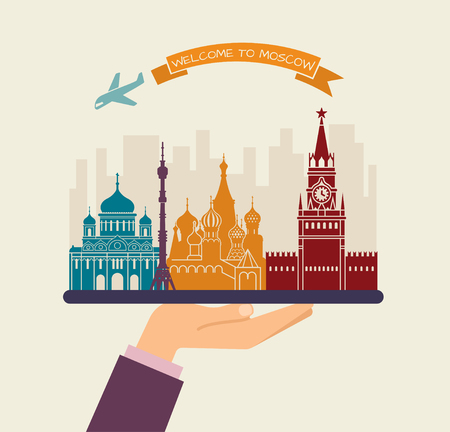 tv tower: Welcome to Moscow. Attractions of Moscow on a tray