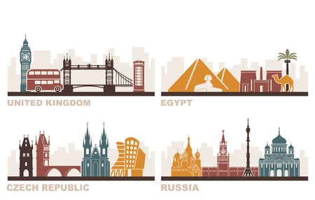huge tree: Architectural sights of different countries. England, Egypt, Czech Republic, Russia