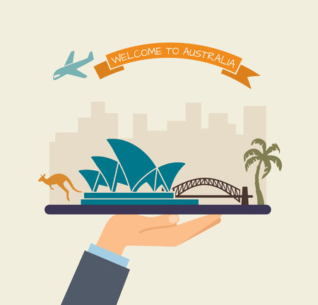 palm: Welcome to Australia. Attractions of Australia on a tray