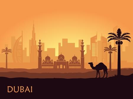 Skyline di Dubai con cammello e palme da dattero. Emirati Arabi Uniti Vettoriali