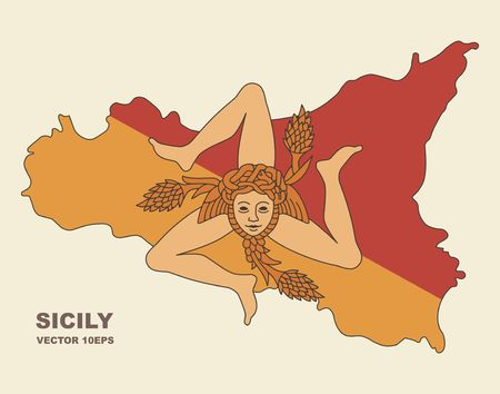 Map of Sicily in Sicily flag colors
