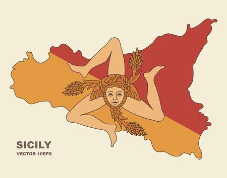 Kaart van Sicilië in Sicilië vlagkleuren Stock Illustratie