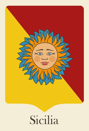 region sicilian: Pennant in the colors of Sicily with the traditional image of the sun