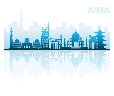 Architectural landmarks of Asia Illustration