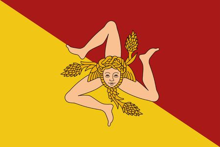 Flag of Sicily vector illustration. The triskelion and the head of the Gorgon Medusa Çizim
