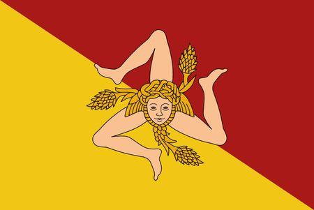 Flag of Sicily vector illustration. The triskelion and the head of the Gorgon Medusa Stock Illustratie