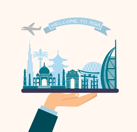 construction: The hand holds the sights of Asia on a tray. The plane and the words welcome to Asia on the ribbon