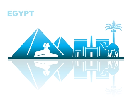 Abstract landscape of architectural landmarks of Egypt Stok Fotoğraf - 83484852