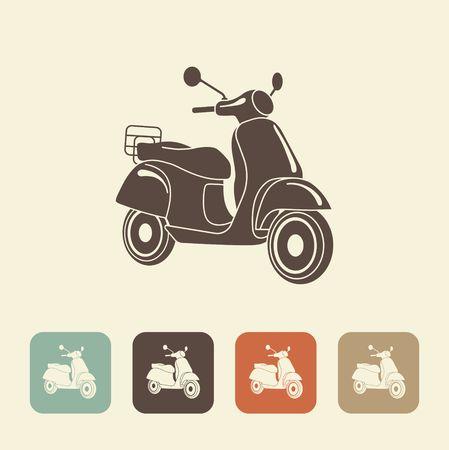 Scooter moto rétro icônes. style italien . vector illustration Banque d'images - 83484853