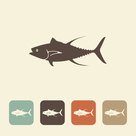 A stylized image of a tuna fish done in retro style