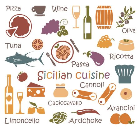 The set of symbols of Sicilian cuisine. Traditional products and dishes of Sicily