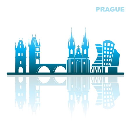 Abstract landscape of architectural landmarks of Prague
