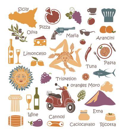 시칠리아의 자연, 요리 및 문화의 전통적인 기호. 아이콘 집합