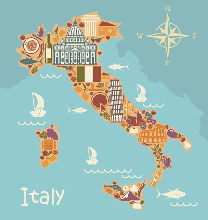 Stylized map of Italy with historical symbols of Italian cuisine, architecture, culture and nature