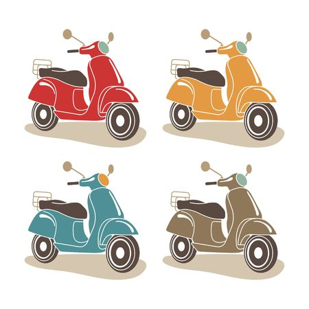 Retro scooters isolated. Italian style. Illustration