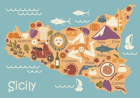 Stylized map of Sicily with traditional symbols
