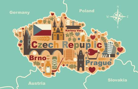 Stylized map of Czech Republic Illustration