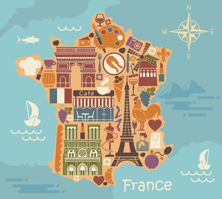french culture: Symbols of France in the form of a stylized maps Illustration