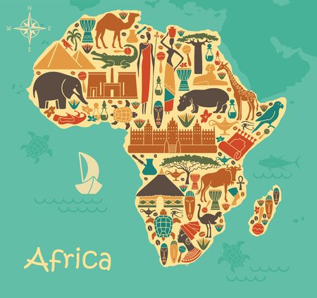 Traditional symbols of Africa in the form of a stilized map