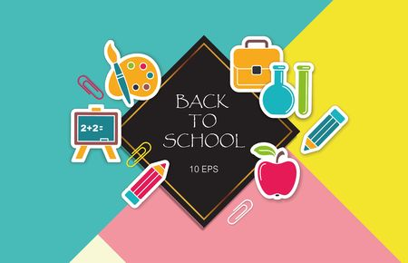 Back to school poster with stickers school symbols
