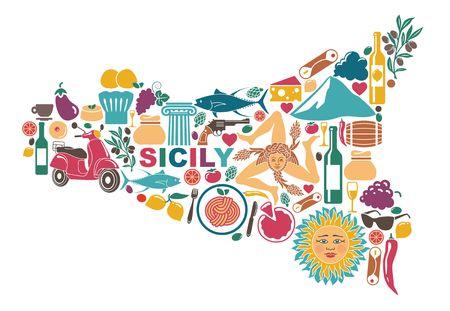 Gestileerde kaart van Sicilië met traditionele symbolen Stockfoto - 84632246