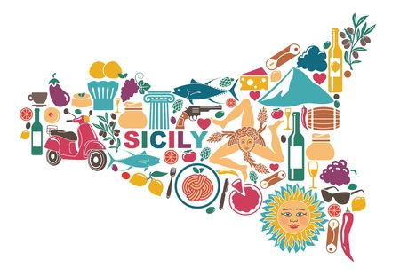Stylized map of Sicily with traditional symbols Stok Fotoğraf - 84632246