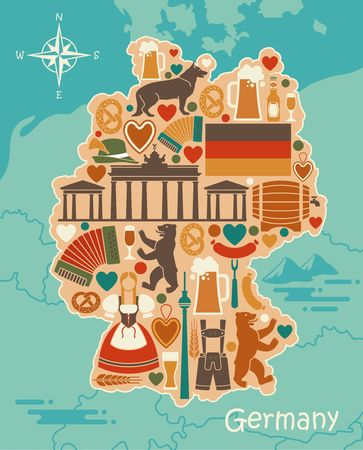 Traditional symbols of Germany in the form of a stilized map