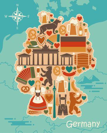 Traditionele symbolen van Duitsland in de vorm van een gestileerde kaart