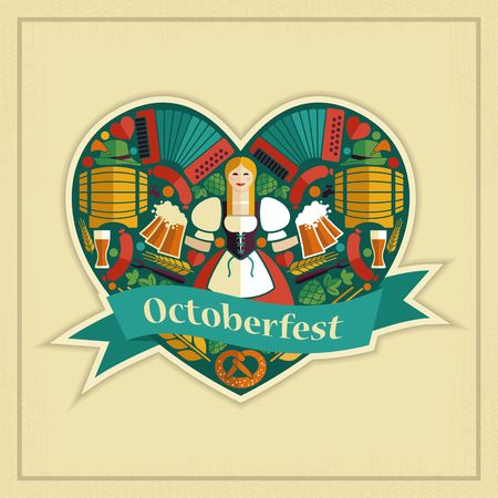 Pretty Bavarian girl with beer. Oktoberfest label Illustration
