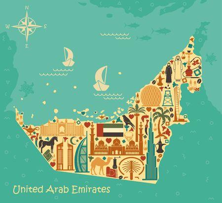 oasis: Map of United Arab Emirates consisting of the traditional symbols of Dubai Illustration