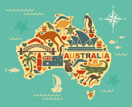 Traditional symbols of Australian culture and nature in the form of maps