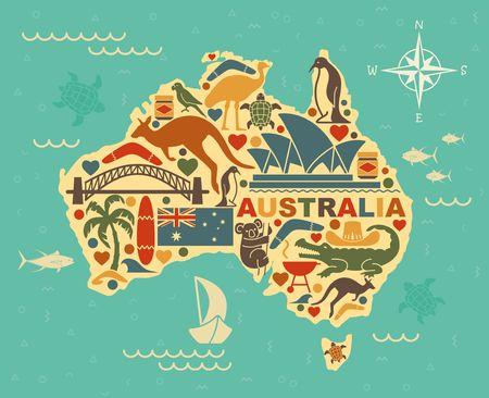 Tradycyjne symbole australijskiej kultury i przyrody w formie map