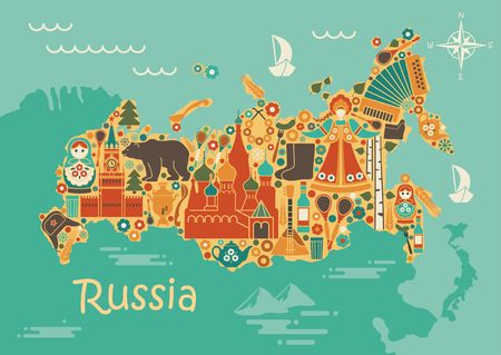 A stylized map of Russia with traditional Russian symbols