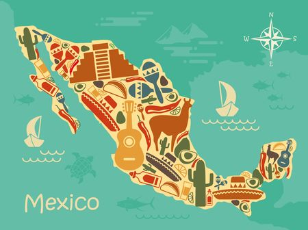 Stylized map of Mexico with traditional symbols
