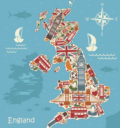 london tower bridge: A stylized map of the UK with traditional English symbols