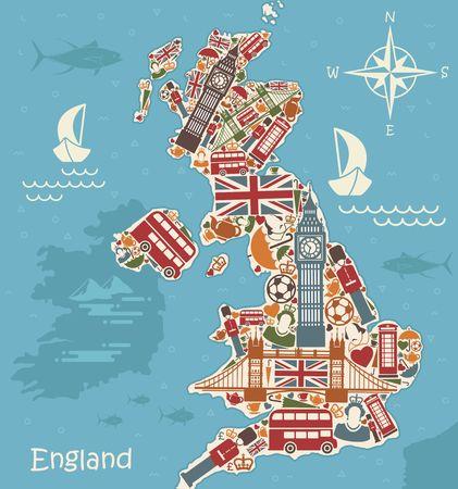 Una mappa stilizzata del Regno Unito con i tradizionali simboli inglesi Archivio Fotografico - 85709134