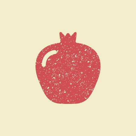 Icon of a pomegranate. Stylized drawing with colored pencils Illustration