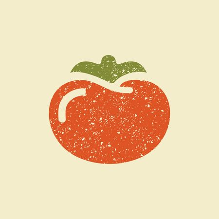 Icon of a tomato. Stylized drawing with colored pencils
