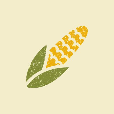 Icon of a corn. Stylized drawing with colored pencils