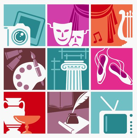 Symbols of various forms of art and entertainment vector illustration. Illustration