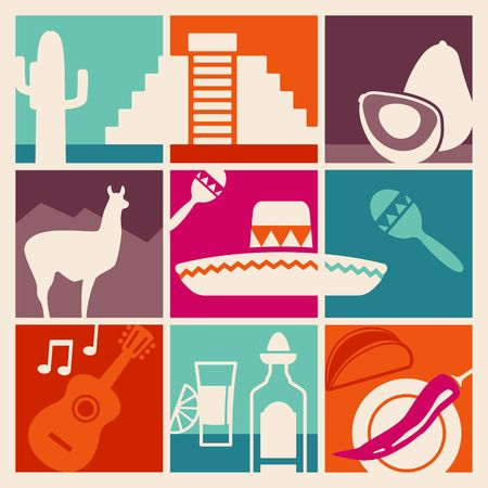 Traditional symbols of culture, the nature and food of Mexico vector illustration.