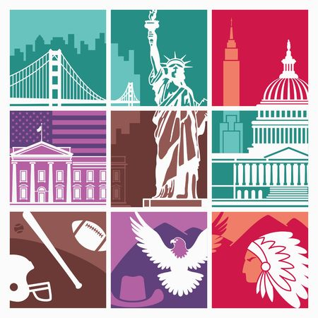 Traditional symbols of architecture and culture of the USA vector illustration.