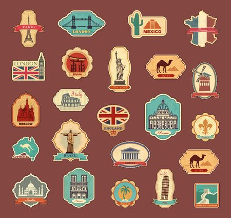Travel stickers and symbols different countries
