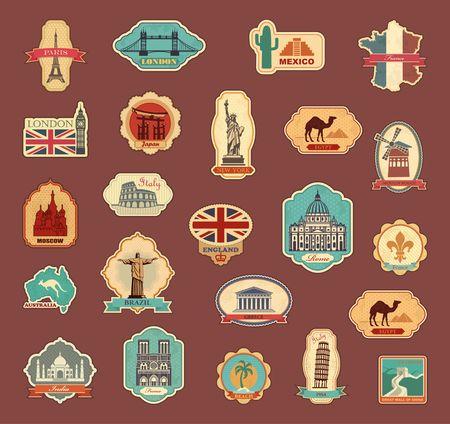 Reisstickers en symbolen verschillende landen Stock Illustratie