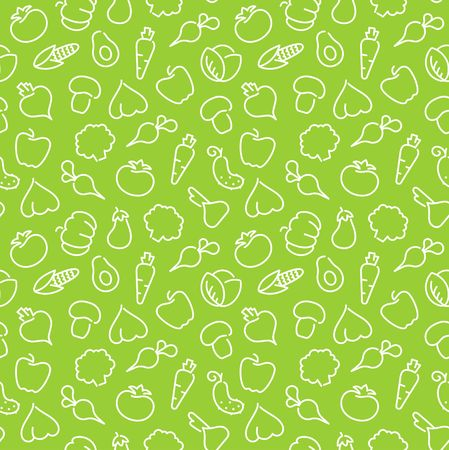 Seamless pattern with contours of vegetables Illustration