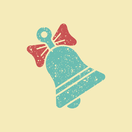 Christmas bell decorated with a bow. Stylized image in retro style