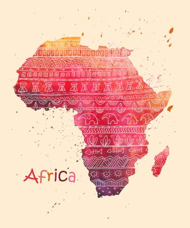 Hand drawn watercolor map of Africa, decorated with ethnic ornament.